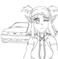Shelby and Mustang Lineart by himeko