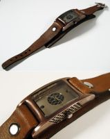 steampunk wrist watch by dravensinferno