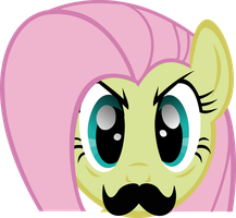 Mustache Attack Fluttershy by Triox404