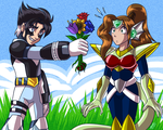 Xid gives flowers to Jo by samusmmx