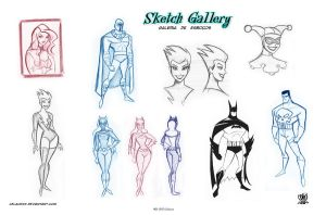 Sketch pages  of style Bruce Timm by celaoxxx