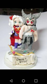 Ashe and Tryndamere Cake topper by Thekawaiiod