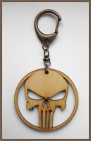 PUNISHER - wood keyring by Piciuu