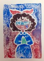 Art Class Print of Girl with Poofy Hair by DelusionsOfSquallor
