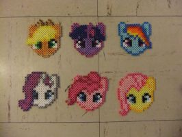 My Little Pony Main Cast Perlers by Soranoo