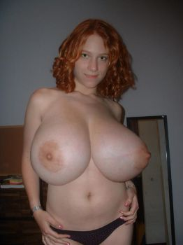 Busty Halfnude Redhead by DiscoSheets