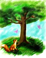 Fox and Tree by foxfire83