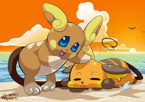 Alola Raichu tries to teach Raichu how to surf by Z-Graves