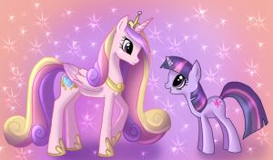 Twilight Sparkle and Cadance by AngelofHapiness