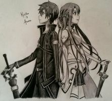 Kirito and Asuna by Uzumaki18