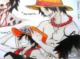 Luffy and Ace by bem10
