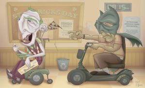 Elderly Batman and Joker by whysoawesome