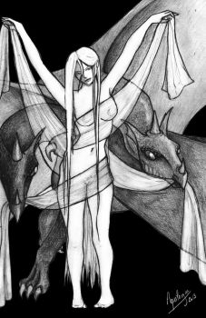 Daenerys and two dragons by AquilegiaNox