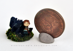 Toothless and Hiccup Miniature by wibblequibble