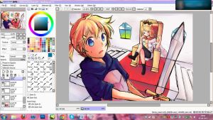 Rin x Len - Sketch/WIP! by Hitomi97