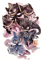 Banette family by creepyfish