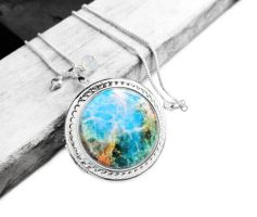 Colorful Cosmic Galaxy Resin Big Locket Necklace by crystaland