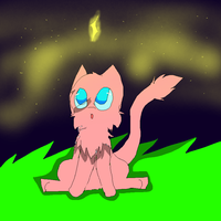 Mew and the night sky by X-CoyoteFeathers-X