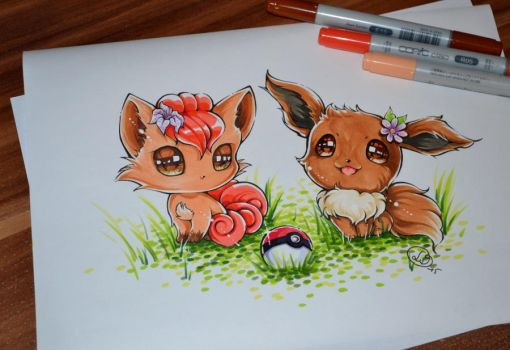 Chibi Vulpix and Eevee by Lighane
