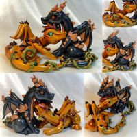Wedding Cake Topper: Fall Dragons by Shemychan