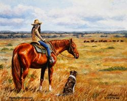 Little cowgirl oil painting by Crista Forest by ForestWildlifeArt