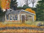 Abandoned Farm Shed In Fall by FastLaneIllustration