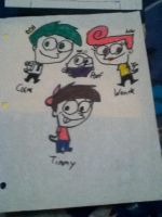 Timmy Turner, Cosmo, Wanda, and Poof by Byo2010
