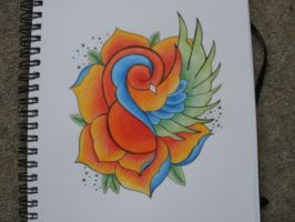 swallow rose hand idea. by mitchink