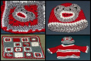 Sock Monkey Baby Set by craftytiger
