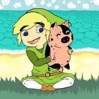 Toon Link and His Piggie by OldSophie
