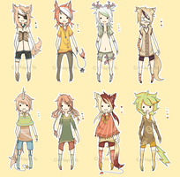 .:Adoptables - Kemonomimi Set 2:. CLOSED by Chi-Adopts-Yo