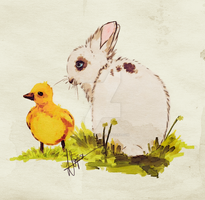 Duck and bunny by Iloveakitten