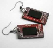 Computer circuit board earring by milkool