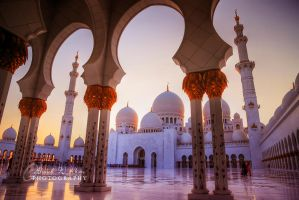 Sunset at Sheikh Zayed Grand Masjid by ahmedwkhan