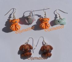 Earrings with little cats and dogs by Elfetta2007