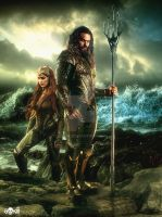 Justice League / Aquaman  and Queen Mera Poster by GOXIII