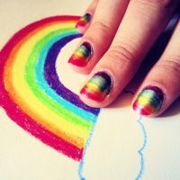 Rainbow Nails by AcceptedOutcast
