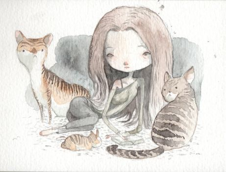 surrounded by cats by tonysandoval