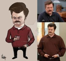 Ron Swanson Caricature by Ambair