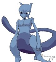 Mewtwo in Color by shewolfpup2000