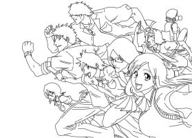 Bleach: School Group Lineart by annamae2243