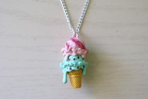 Ice Cream Cone Necklace by foowahu-etsy