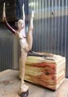 Stick Dancer with wooden box by carvenaked