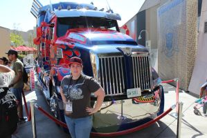 Me with Optimus Primes new TRUCK mode by Lady-Elita-One