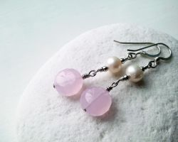 Pink Chalcedony and Pearl Earrings by QuintessentialArts