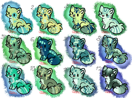 Cat Adoptables- Green Overload by DaPuddingz