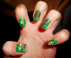 Plants vs Zombies Nails by marissa287
