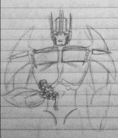 Tfp: Optimus carrying Lucy sketch by Lil-9