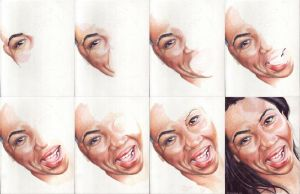 In progress scans of colored pencil drawing LaTonya