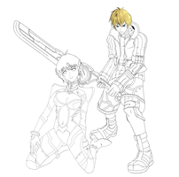 Shulk and Fiora WIP by PookandPie